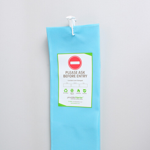 DPL6 - Disposable Cubicle Curtain with Universal Stalk Light Blue