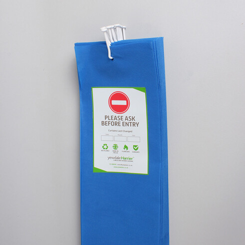 DPL6 - Disposable Cubicle Curtain with Universal Stalk Sky Blue